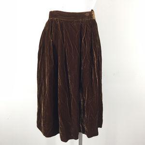 Vintage Tony Lambert S brown Velvet Midi Skirt